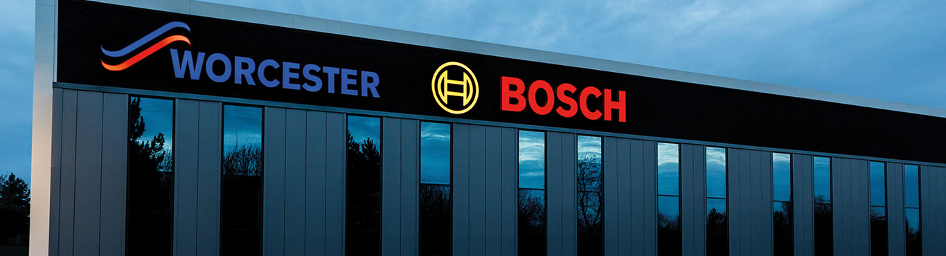 Worcester Bosch Head Office sign outside at night