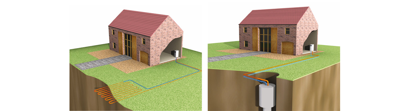 Diagrams of a standard heat pump setup